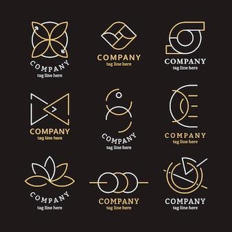 Conjunto de logotipo de negocios de oro