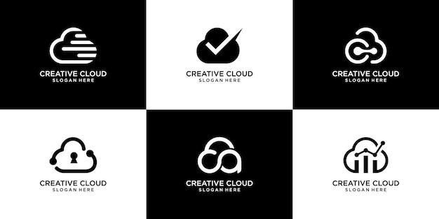 Conjunto de logotipo de nube de colección y estilo simple.