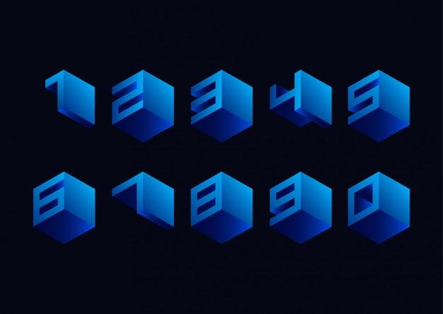 Conjunto de logotipo de números geométricos cúbicos 3d
