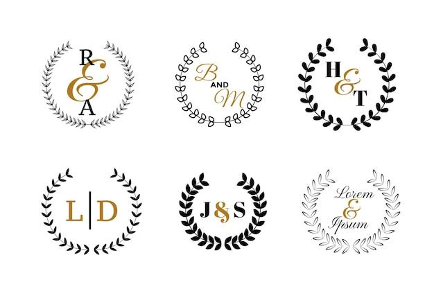 Conjunto de logotipo o monogramas de boda
