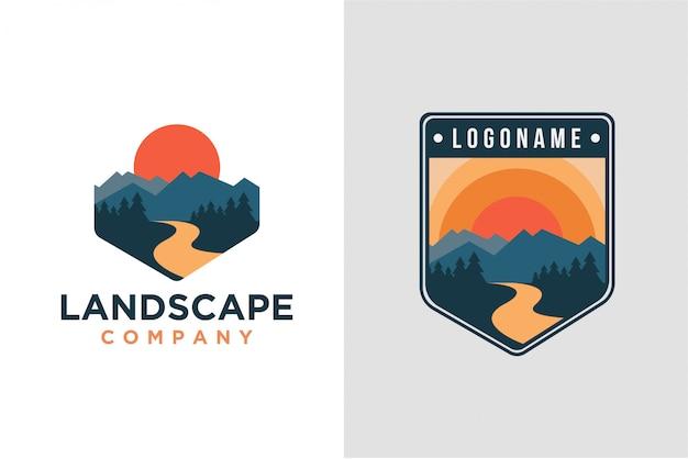 Conjunto de logotipo de paisaje de montaña