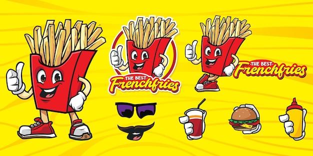 Conjunto de logotipo de papas fritas de dibujos animados