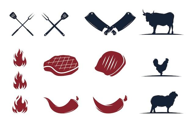 Conjunto de logotipo de parrilla barbacoa parrilla retro vintage