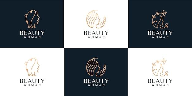 Conjunto de logotipo de peinado de monograma de rostro de mujer de belleza