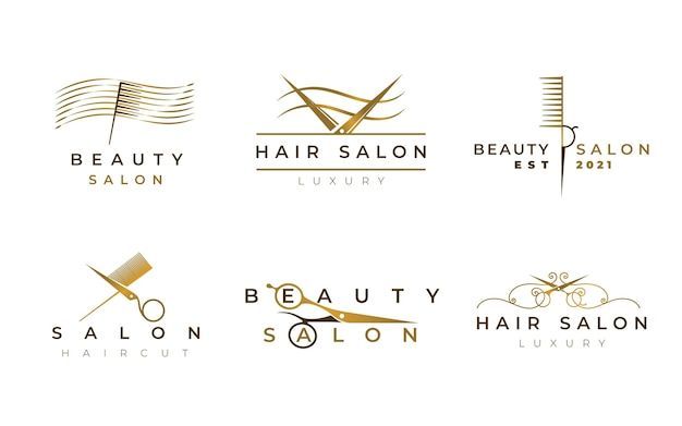 Conjunto de logotipo de peluquería de lujo