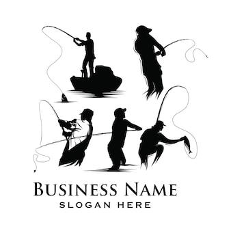 Conjunto de logotipo de pesca