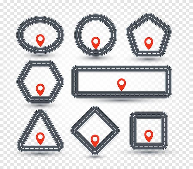 Conjunto de logotipo pin geométrico aislado, colección de señal de tráfico, símbolo de ubicación