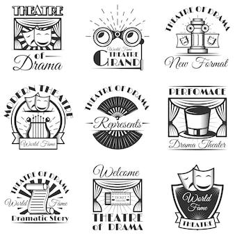 Conjunto de logotipo y placa aislados de teatro clásico. elementos de teatro en blanco y negro.