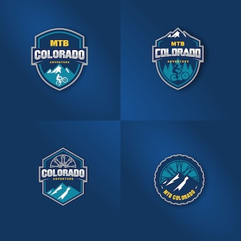 Conjunto de logotipo para plantilla de bicicleta de montaña