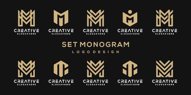 Conjunto de logotipo de plantilla de logotipo abstracto letra inicial m