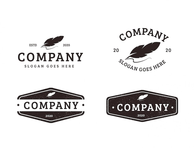 Conjunto de logotipo de pluma pluma