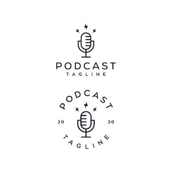 Conjunto de logotipo de podcast mic