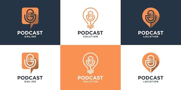 Conjunto de logotipo de podcast minimalista con estilo de arte lineal