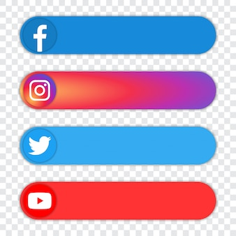 Conjunto de logotipo popular de redes sociales: facebook, instagram, twitter, youtube
