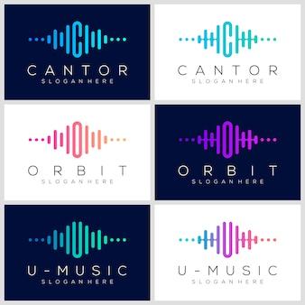 Conjunto de logotipo de pulso de símbolo. concepto de logo de onda de audio. plantilla de logotipo de música electrónica, sonido, ecualizador, tienda, música de dj, discoteca, discoteca.