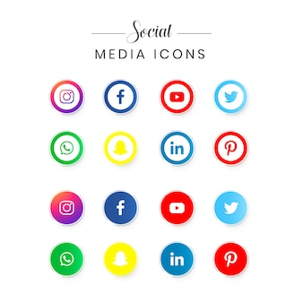 Conjunto de logotipo de redes sociales populares