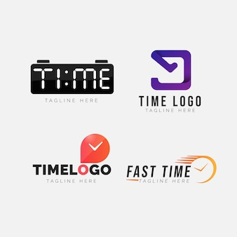 Conjunto de logotipo de reloj de diseño plano