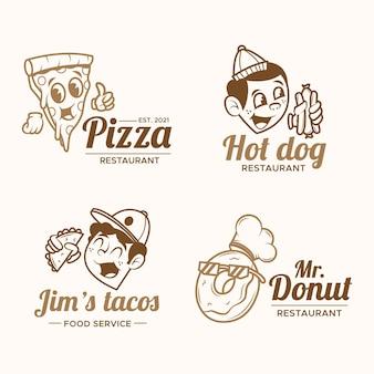 Conjunto de logotipo de restaurante de dibujos animados retro