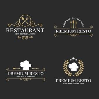 Conjunto de logotipo de restaurante de lujo