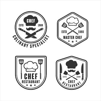 Conjunto de logotipo de restaurante maestro chef