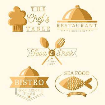 Conjunto de logotipo de restaurante retro dorado