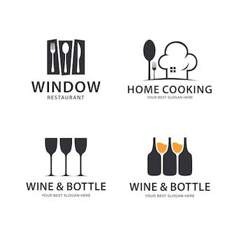 Conjunto de logotipo de restaurante