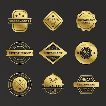 Conjunto de logotipo retro restaurante dorado