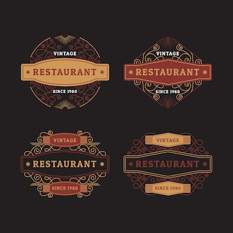 Conjunto de logotipo retro restaurante