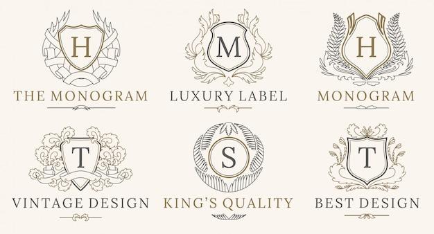 Conjunto de logotipo retro royal vintage shields