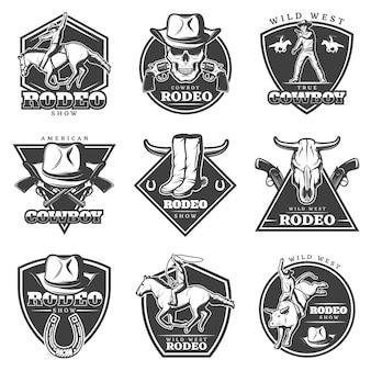 Conjunto de logotipo de rodeo monocromo
