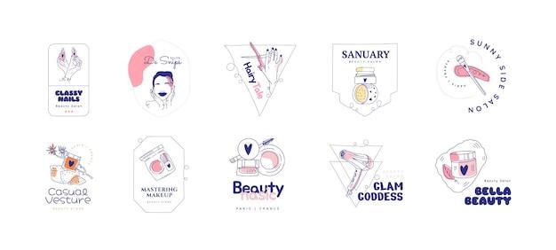 Conjunto de logotipo de salón de belleza dibujado a mano plana