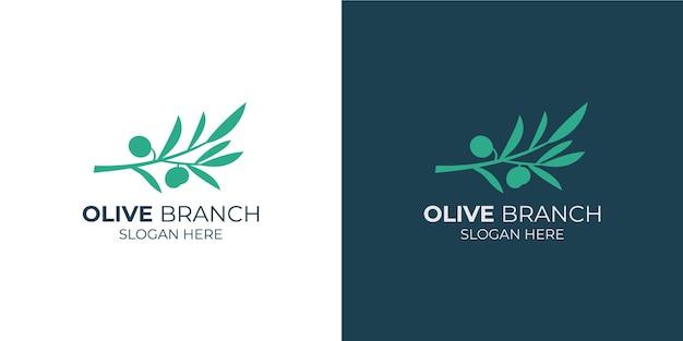 Conjunto de logotipo simple de rama de olivo