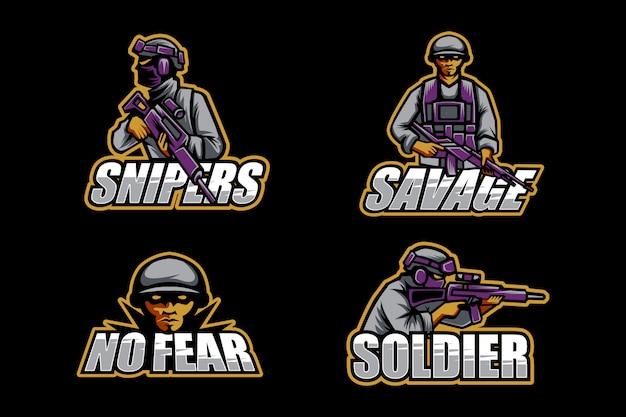 Conjunto de logotipo de soldado esport