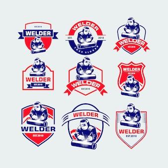 Conjunto de logotipo soldador
