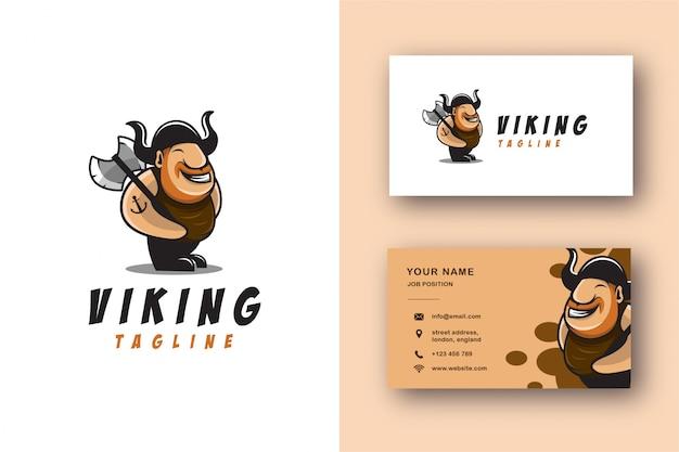 Conjunto de logotipo y tarjeta de visita de dibujos animados de la mascota vikinga