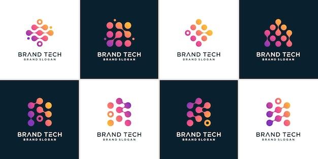Conjunto de logotipo de tecnología para conexión de datos informáticos vector premium