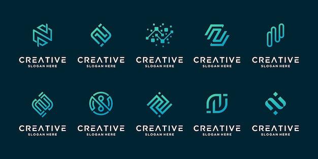 Conjunto de logotipo de tecnología digital de línea moderna letra n creativa.