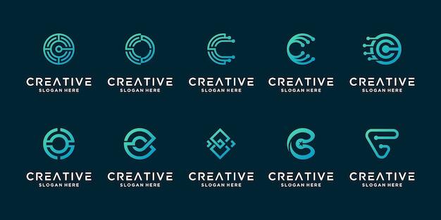 Conjunto de logotipo de tecnología digital de revestimiento moderno letra c creativa