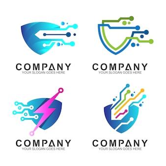 Conjunto de logotipo de tecnología de escudo