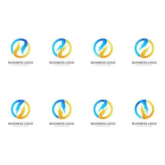 Conjunto de logotipo de trueno abstracto