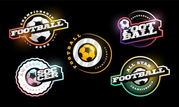 Conjunto de logotipo de vector de fútbol.