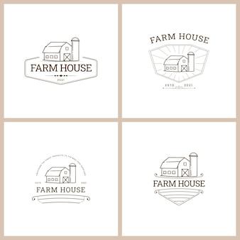 Conjunto de logotipo de vector de insignia de granja