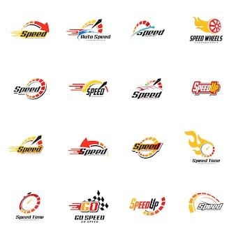 Conjunto de logotipo de velocidad
