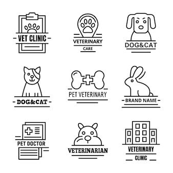 Conjunto de logotipo veterinario, estilo de contorno