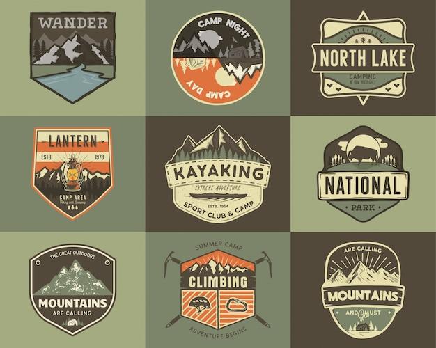 Conjunto de logotipo de viaje vintage