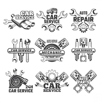 Conjunto de logotipo vintage de herramientas de automóvil