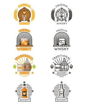 Conjunto de logotipo de whisky.