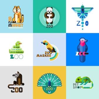 Conjunto de logotipo zoológico