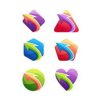 Conjunto de logotipos abstractos con flechas
