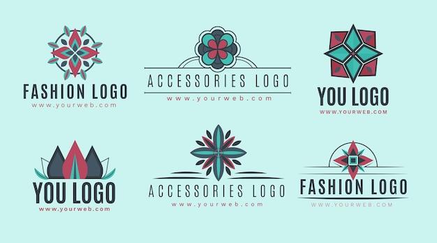 Conjunto de logotipos de accesorios de moda de diseño plano